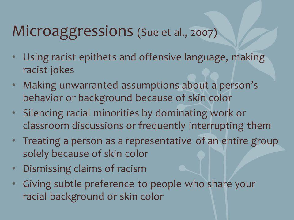 Microaggressions (Sue et al., 2007)