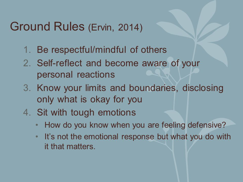 Ground Rules (Ervin, 2014) Be respectful/mindful of others