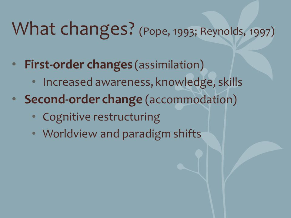 What changes (Pope, 1993; Reynolds, 1997)