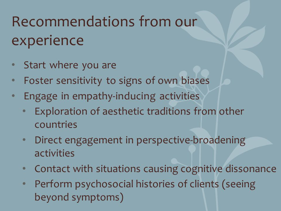 Recommendations from our experience