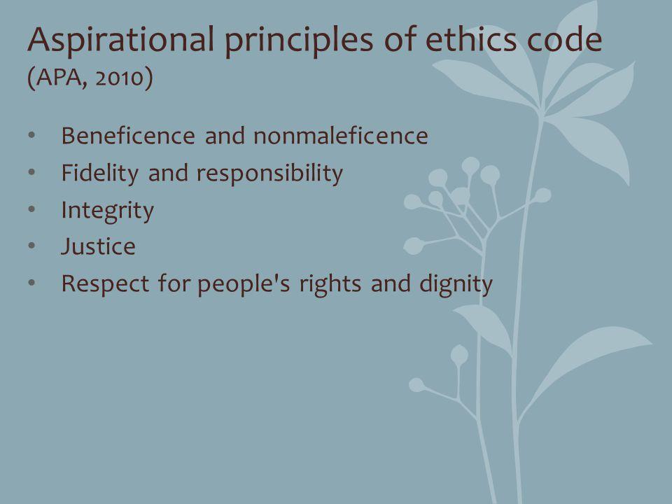 Aspirational principles of ethics code (APA, 2010)