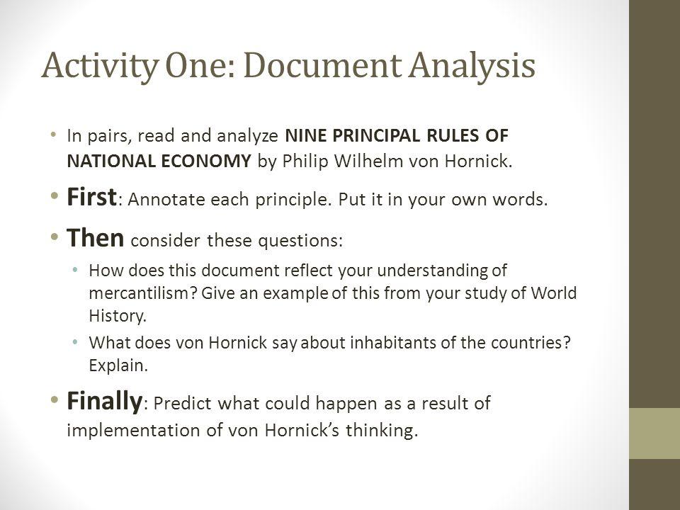 Activity One: Document Analysis