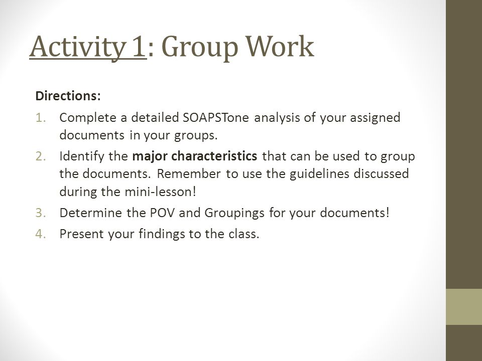 Activity 1: Group Work Directions: