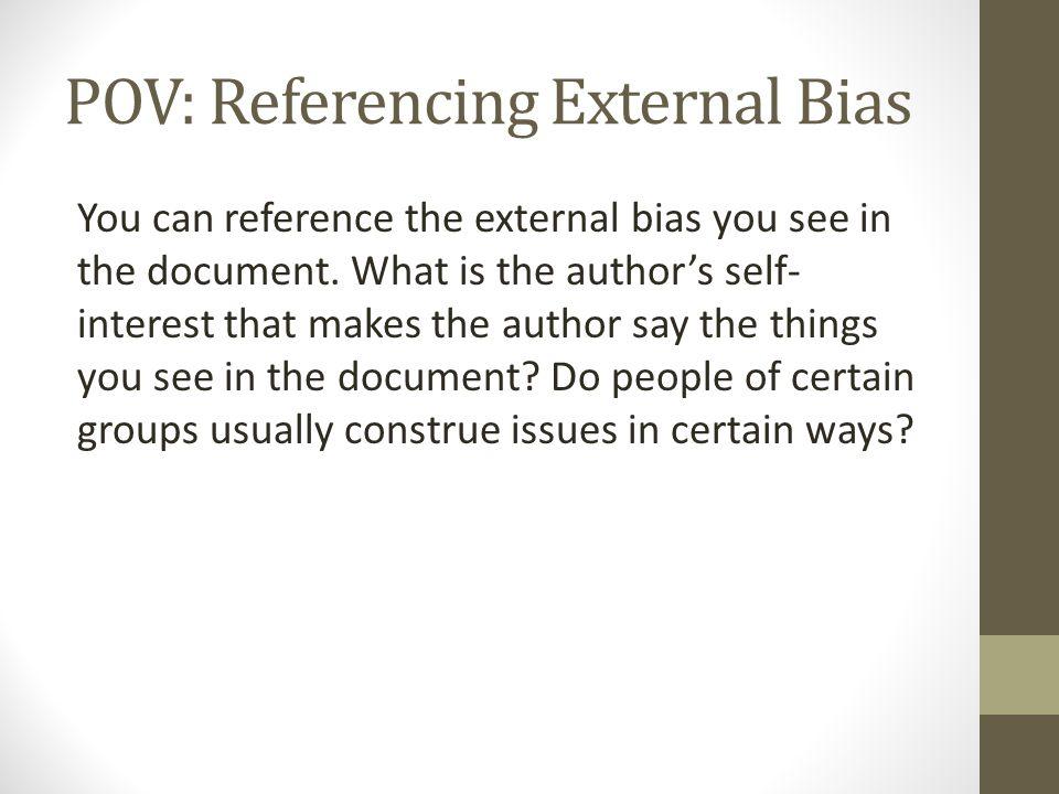 POV: Referencing External Bias