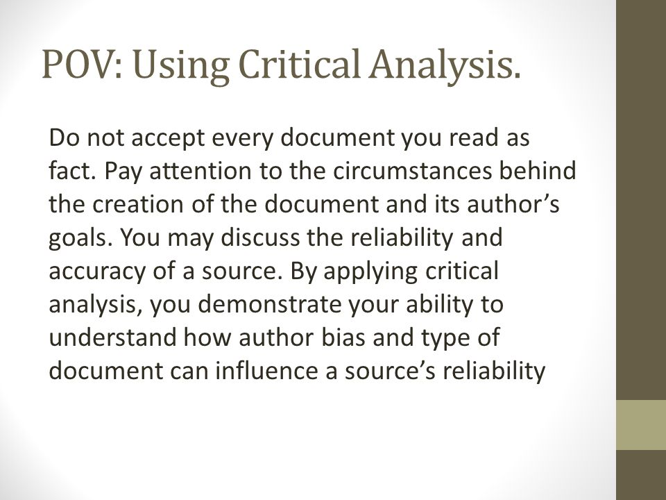 POV: Using Critical Analysis.