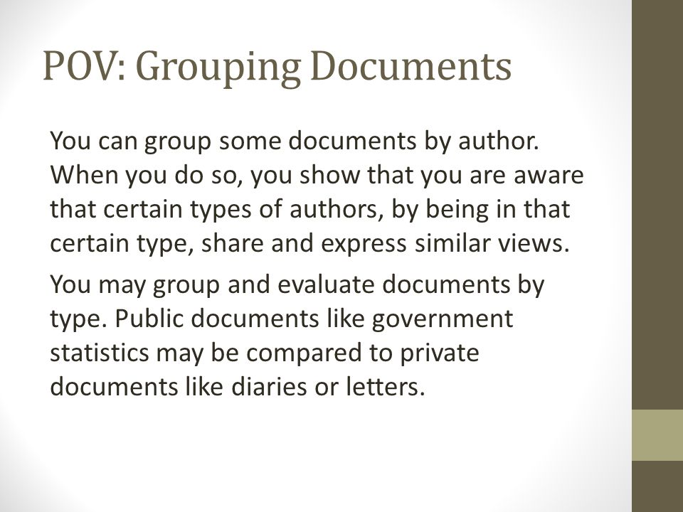 POV: Grouping Documents