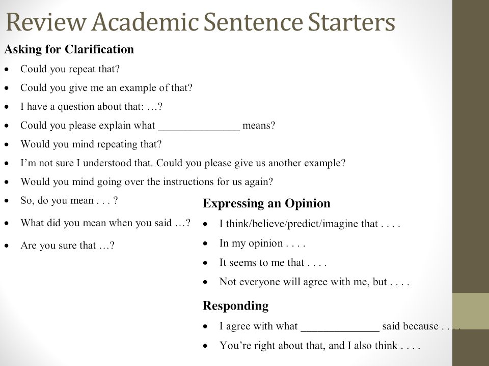 Review Academic Sentence Starters