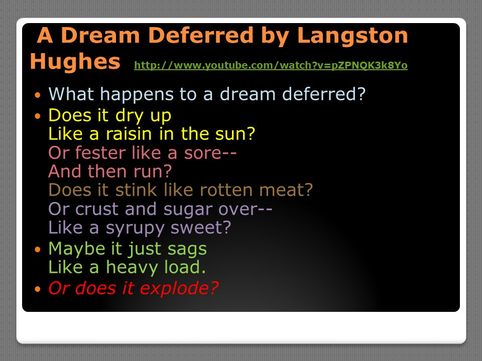 A Dream Deferred by Langston Hughes http://www. youtube. com/watch