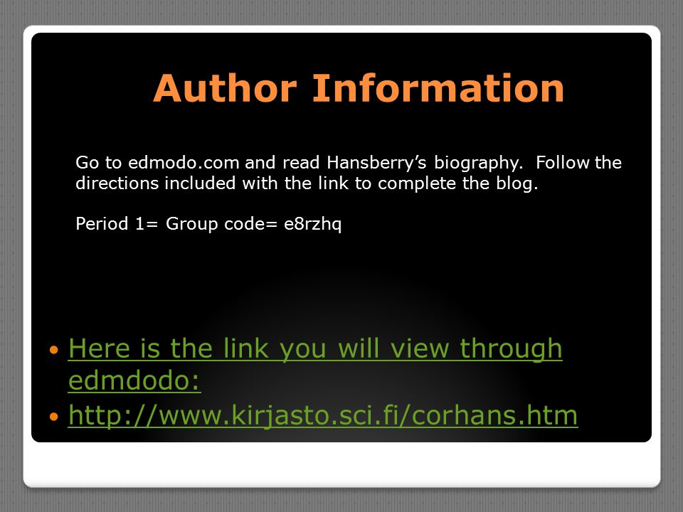 Author Information Here is the link you will view through edmdodo: