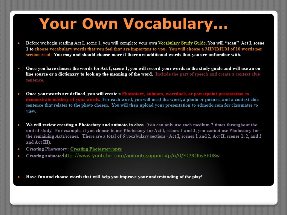 Your Own Vocabulary…