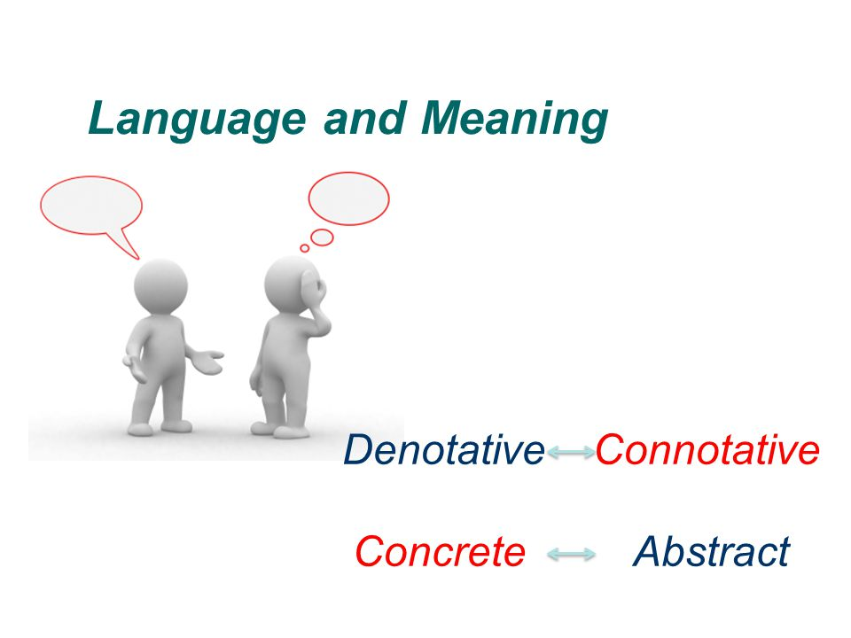 Language and Meaning Denotative Connotative Concrete Abstract
