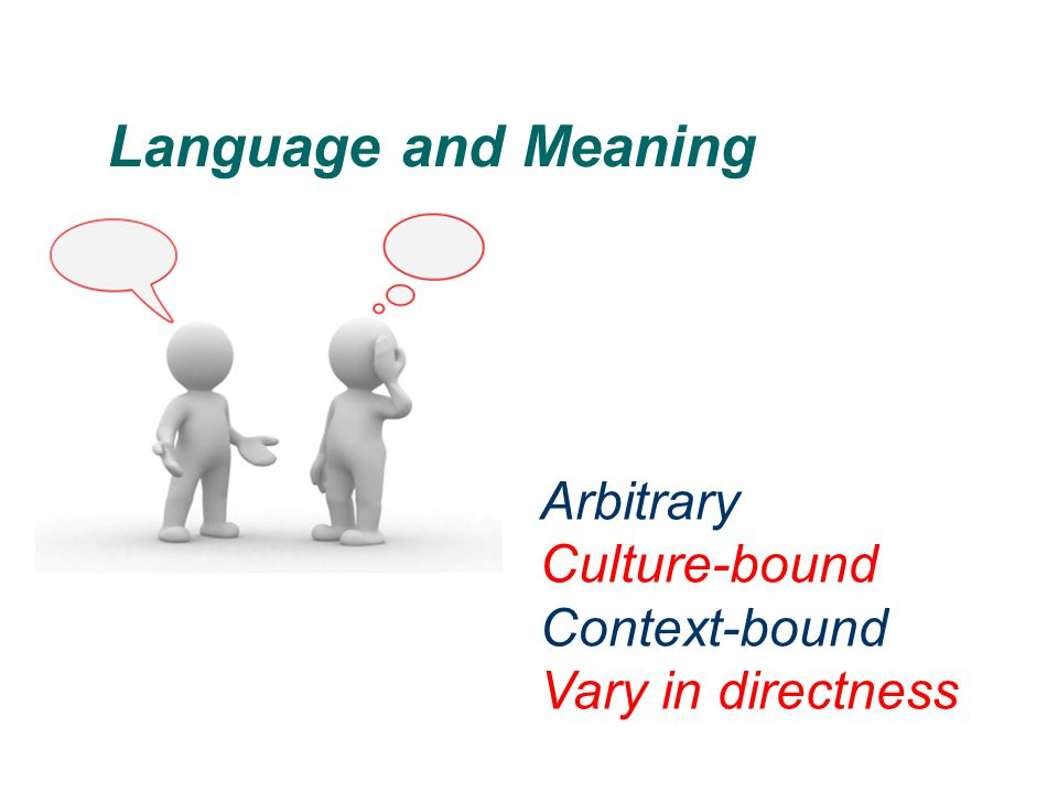 Language and Meaning Arbitrary Culture-bound Context-bound
