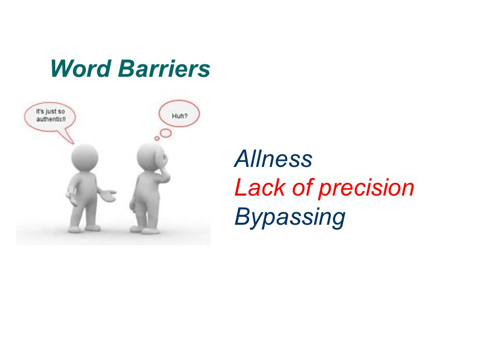 Word Barriers Allness Lack of precision Bypassing