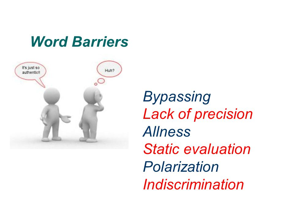 Word Barriers Bypassing Lack of precision Allness Static evaluation