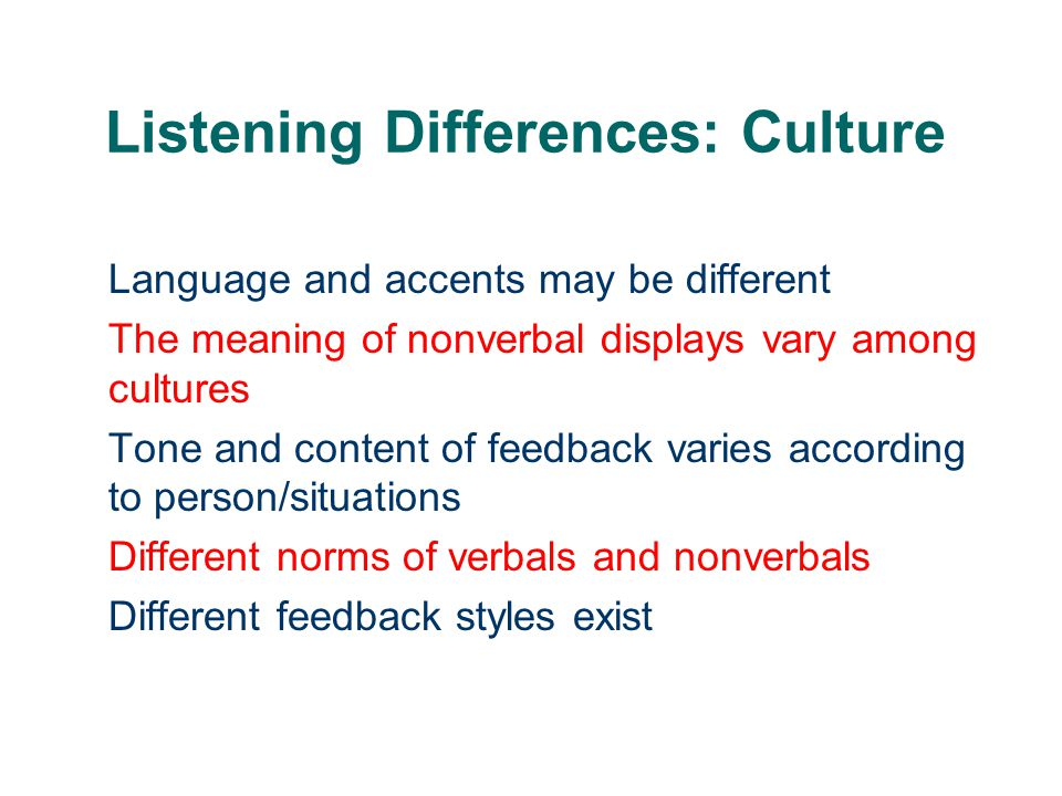 Listening Differences: Culture