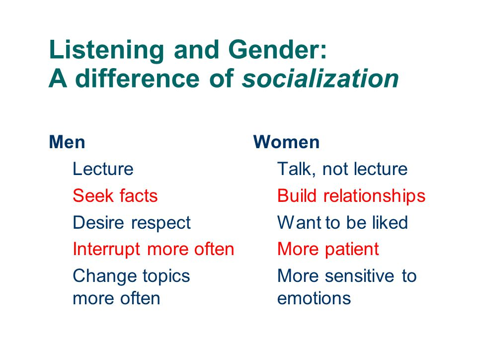 Listening and Gender: A difference of socialization