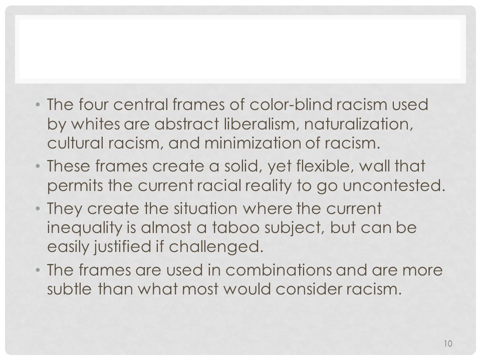 The four central frames of color-blind racism used by whites are abstract liberalism, naturalization, cultural racism, and minimization of racism.