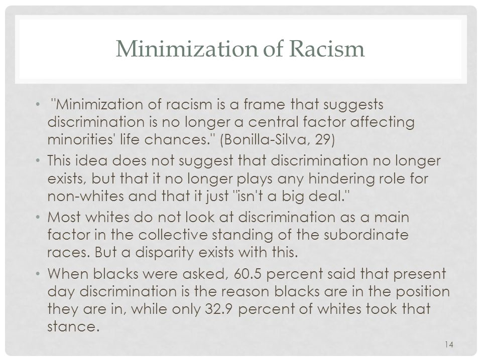 Minimization of Racism