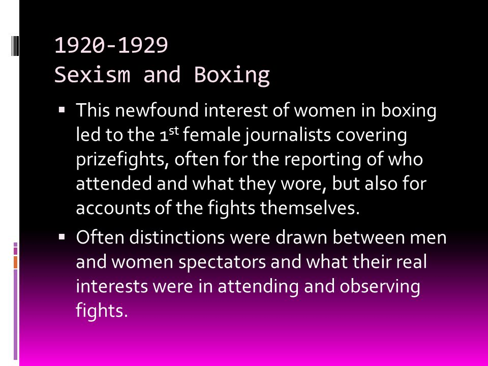 1920-1929 Sexism and Boxing