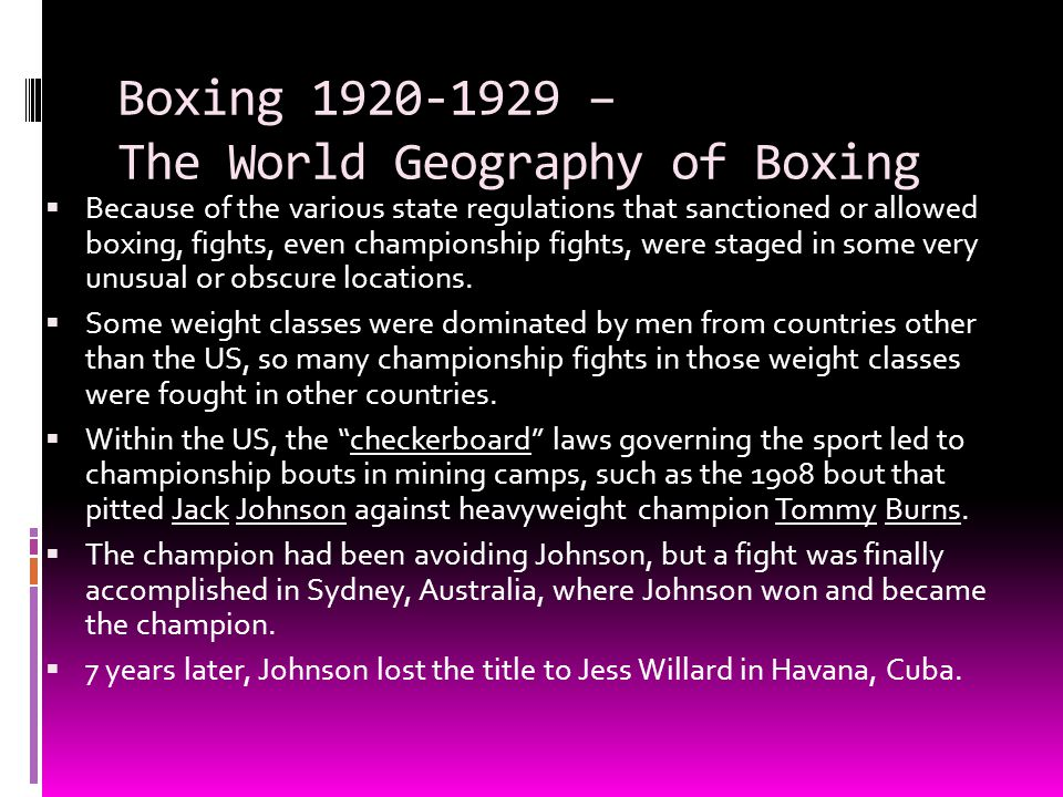 Boxing 1920-1929 – The World Geography of Boxing