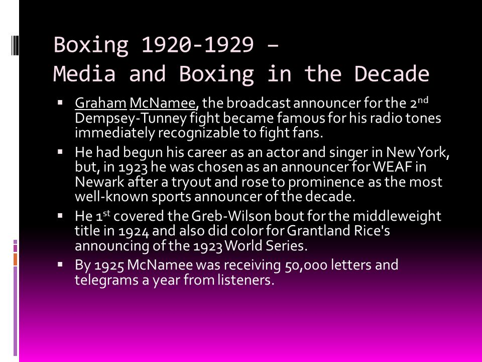 Boxing 1920-1929 – Media and Boxing in the Decade