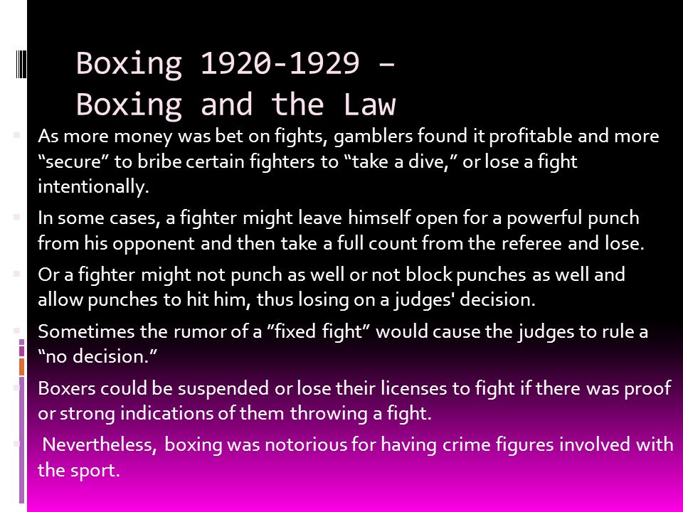 Boxing 1920-1929 – Boxing and the Law