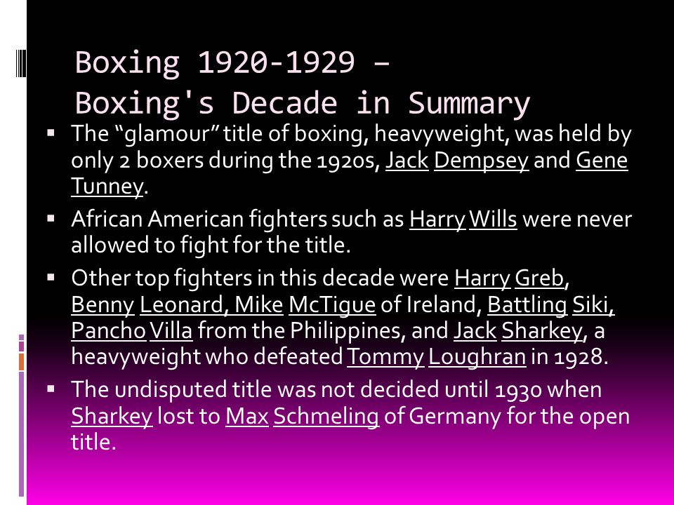Boxing 1920-1929 – Boxing s Decade in Summary