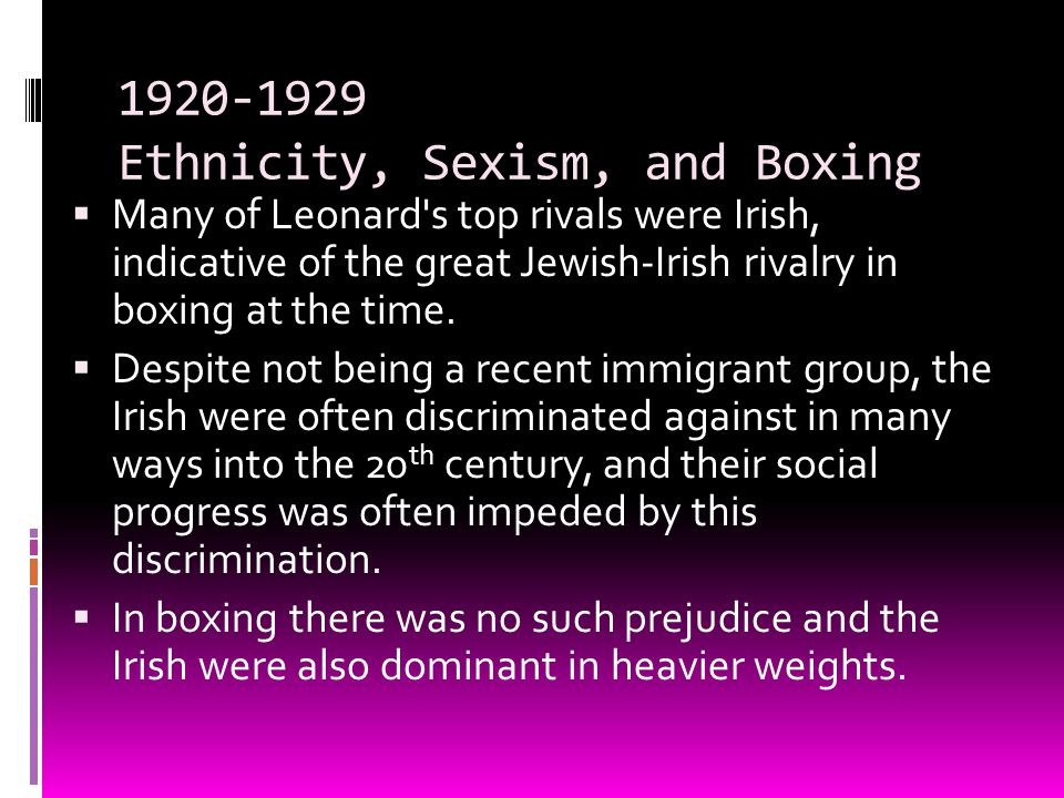 1920-1929 Ethnicity, Sexism, and Boxing