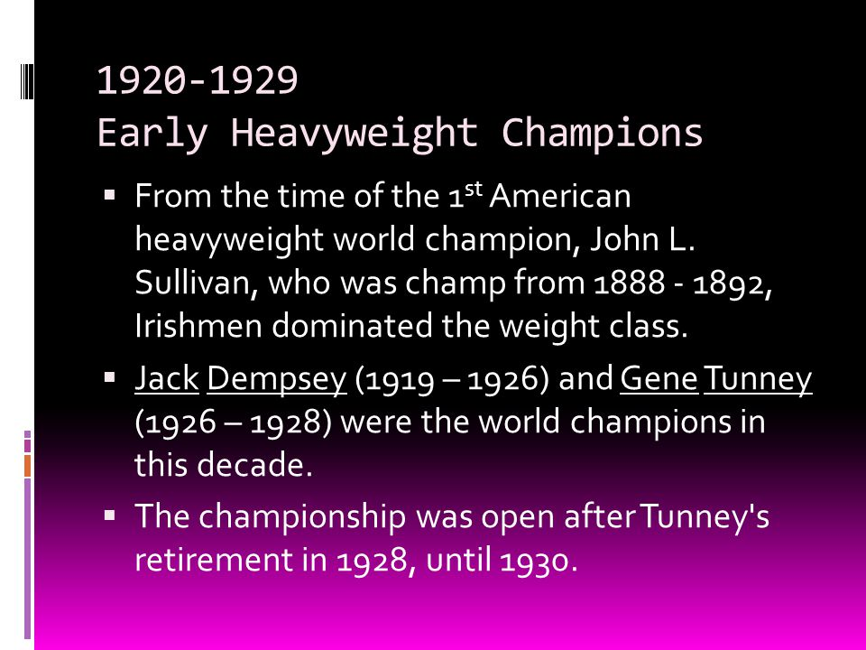 1920-1929 Early Heavyweight Champions