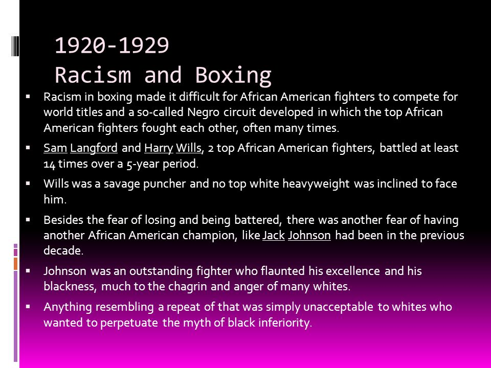 1920-1929 Racism and Boxing