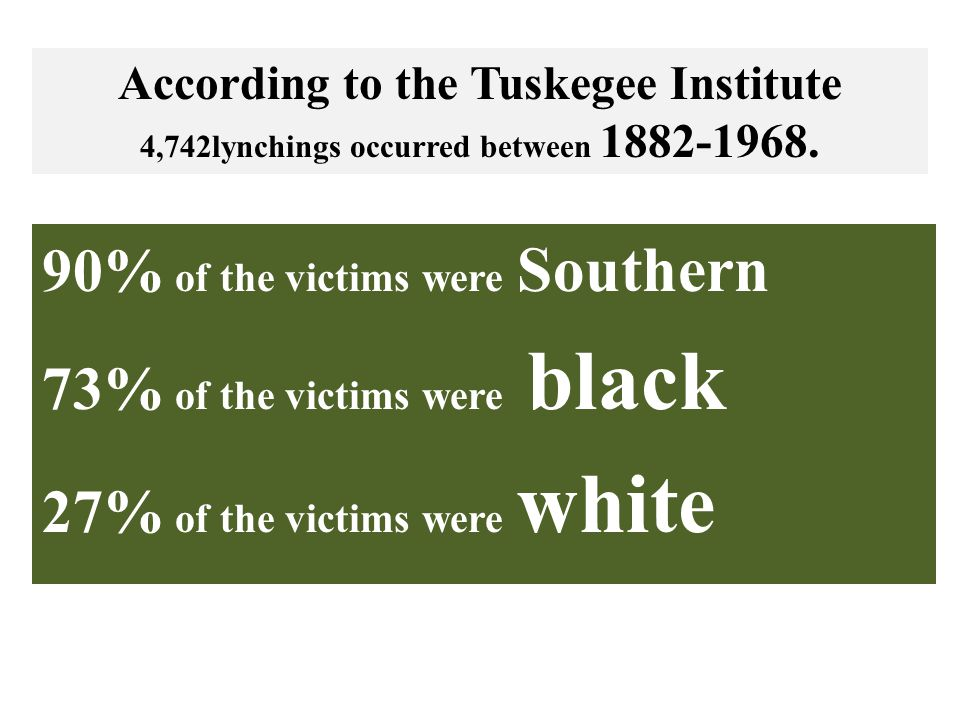 90% of the victims were Southern 73% of the victims were black