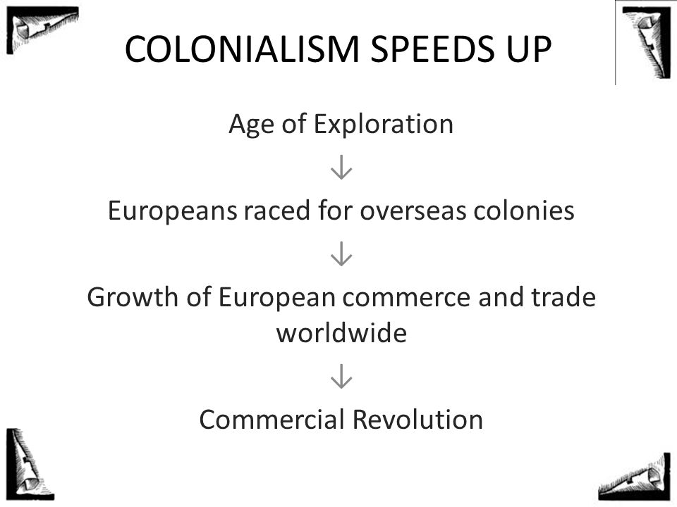 COLONIALISM SPEEDS UP Age of Exploration ↓