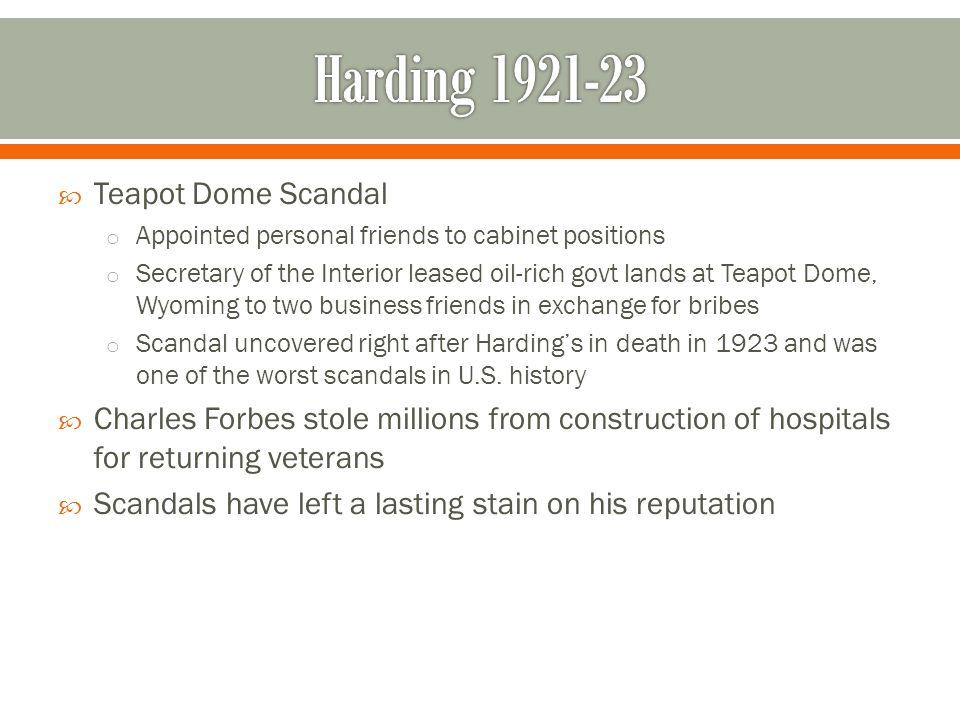Harding 1921-23 Teapot Dome Scandal