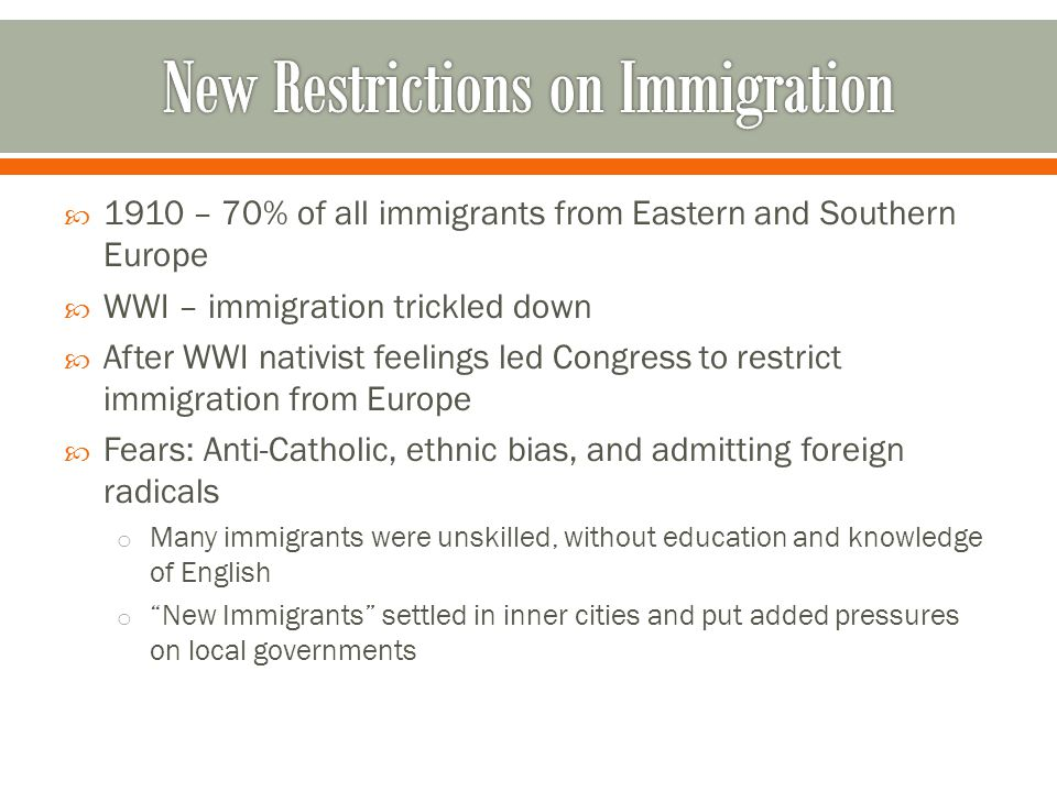 New Restrictions on Immigration