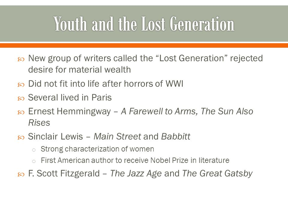 Youth and the Lost Generation