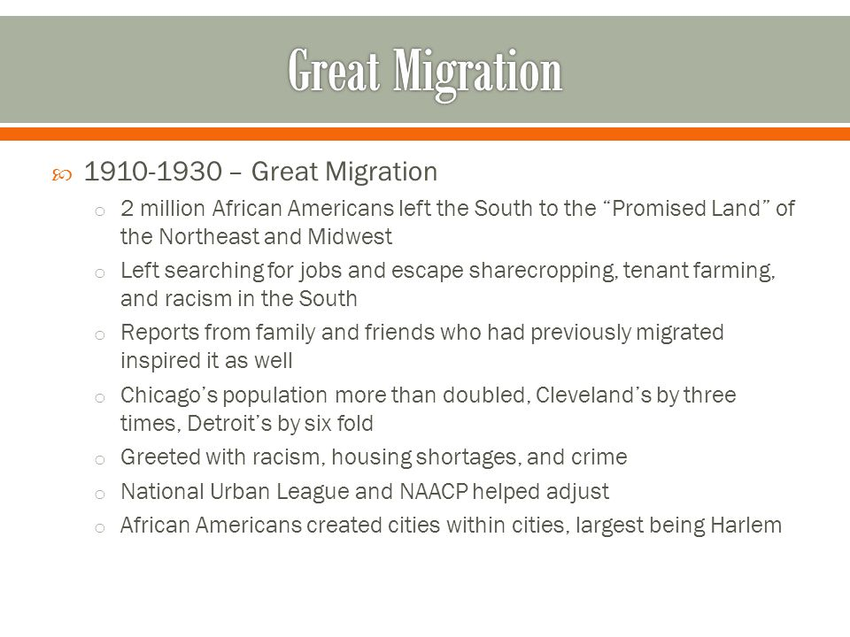 Great Migration 1910-1930 – Great Migration