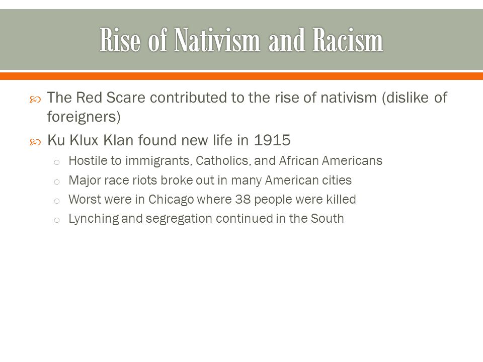 Rise of Nativism and Racism