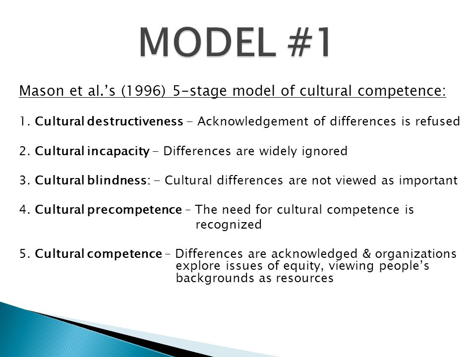 MODEL #1 Mason et al.'s (1996) 5-stage model of cultural competence: