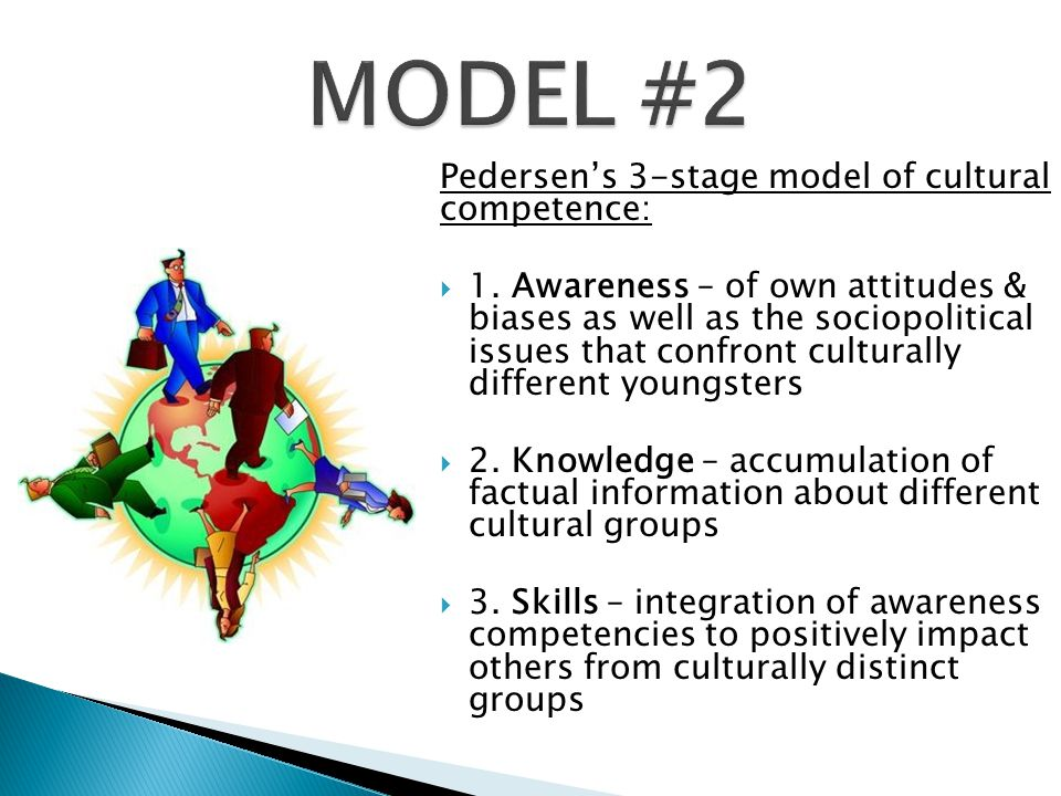 MODEL #2 Pedersen's 3-stage model of cultural competence:
