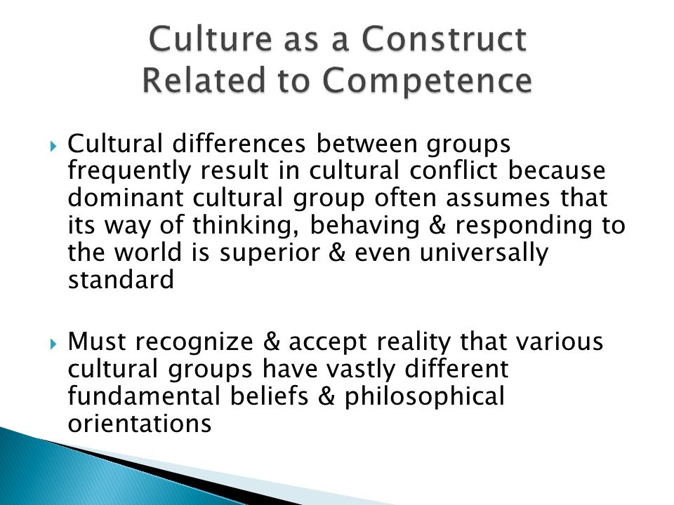 Culture as a Construct Related to Competence