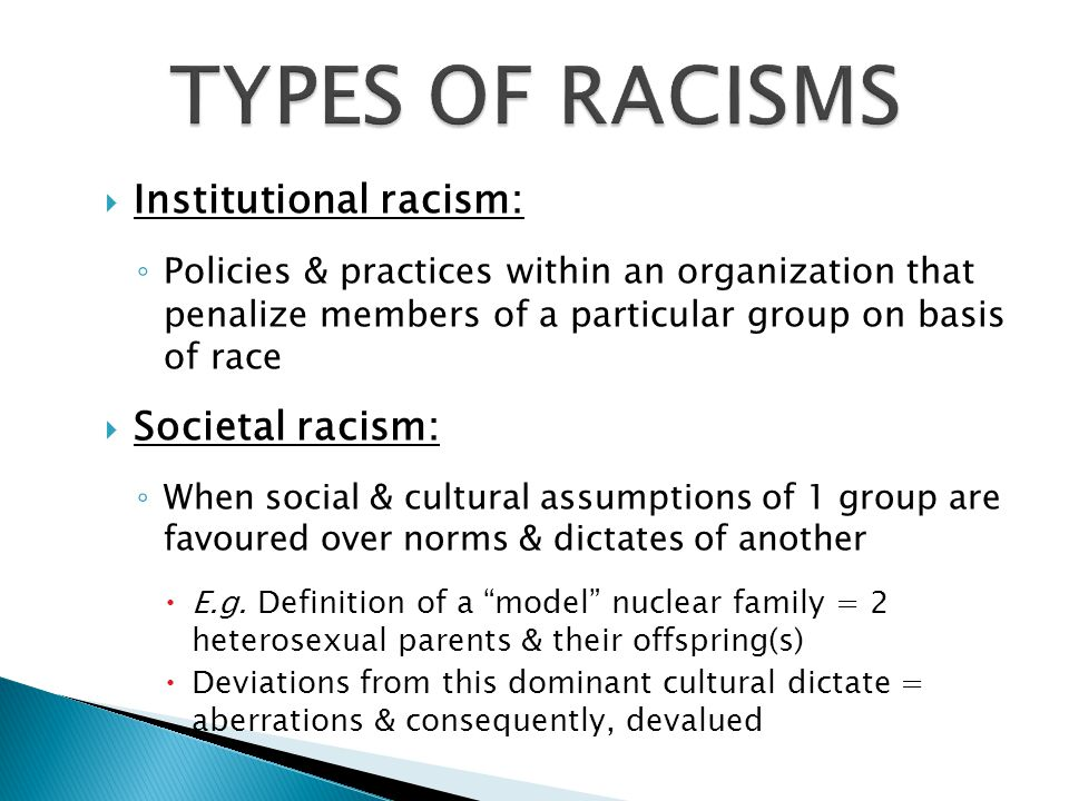 TYPES OF RACISMS Institutional racism: Societal racism: