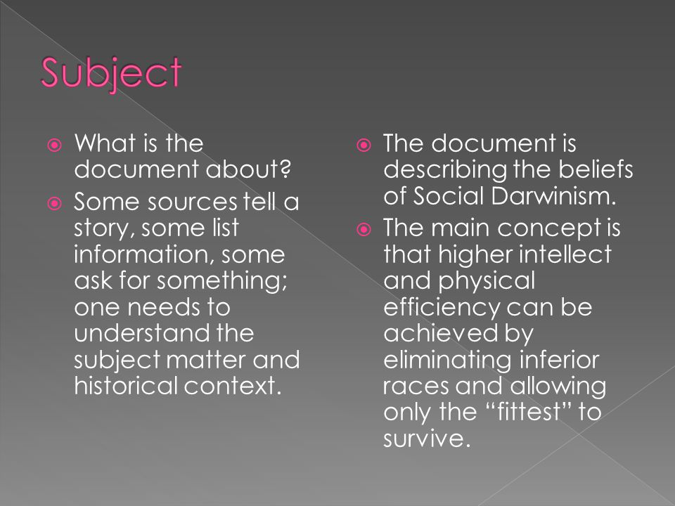 Subject What is the document about