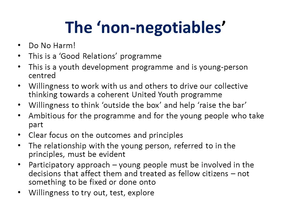 The 'non-negotiables'