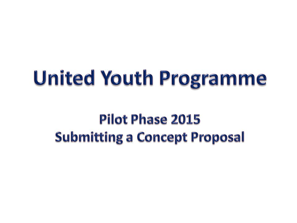 United Youth Programme Submitting a Concept Proposal