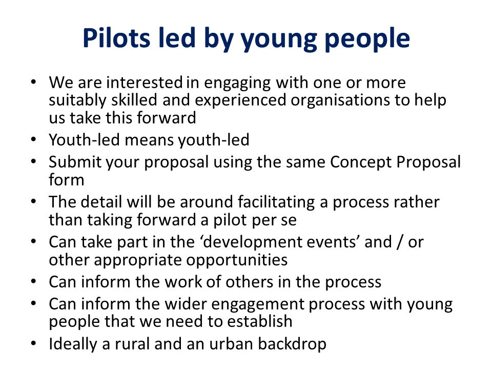 Pilots led by young people