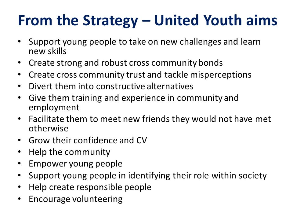 From the Strategy – United Youth aims