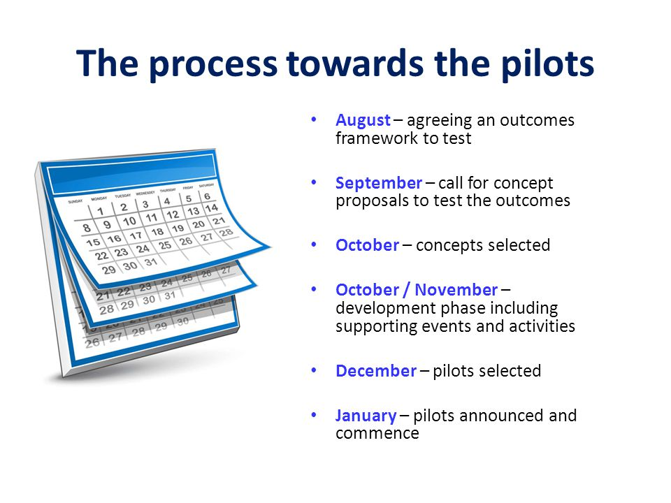 The process towards the pilots
