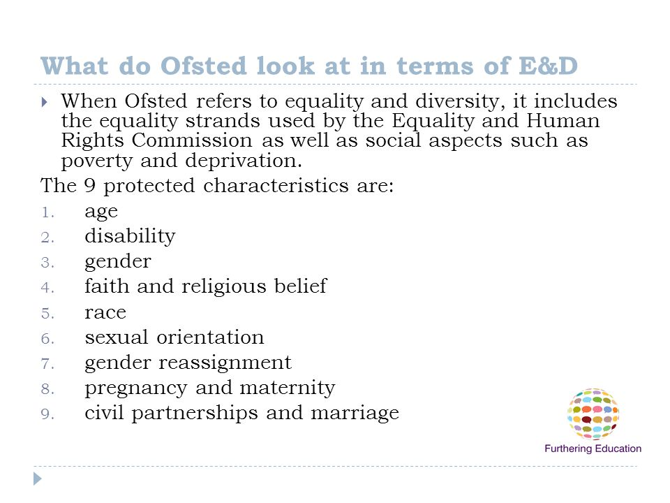 What do Ofsted look at in terms of E&D