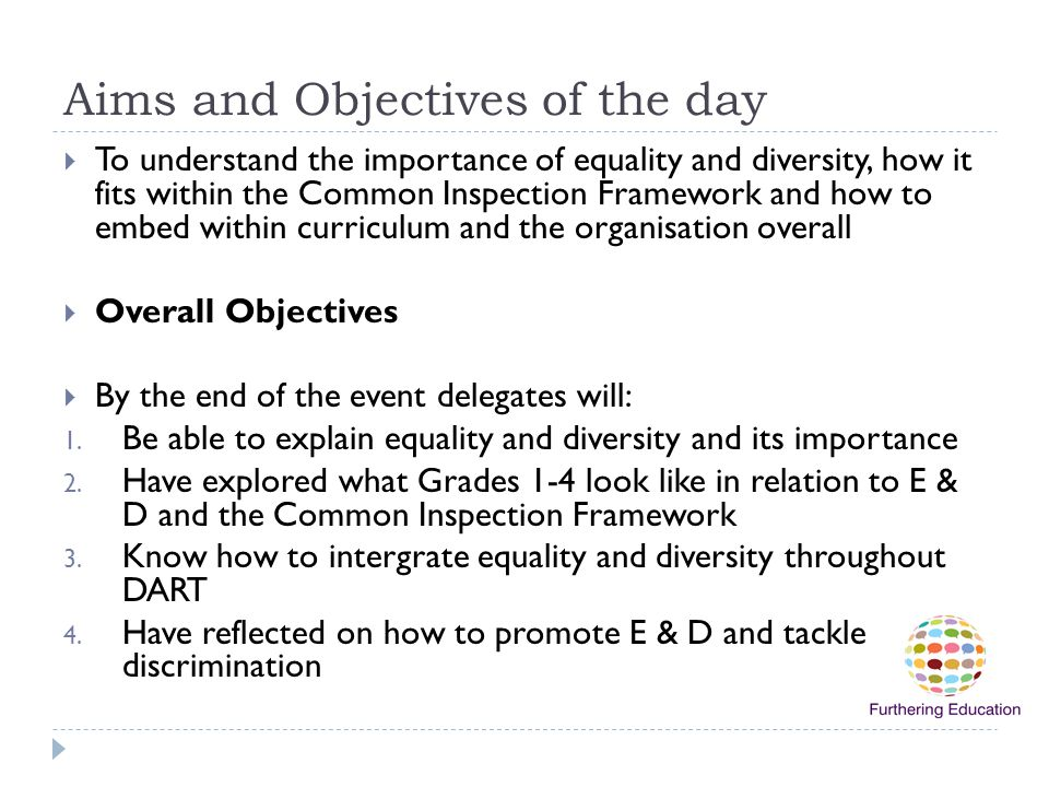Aims and Objectives of the day