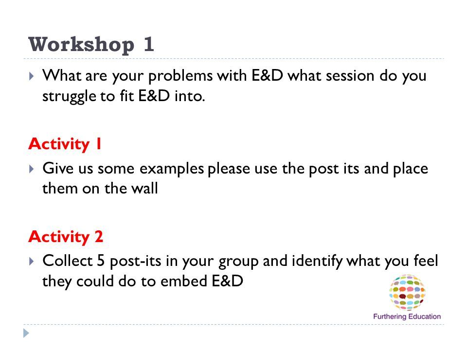 Workshop 1 What are your problems with E&D what session do you struggle to fit E&D into. Activity 1.
